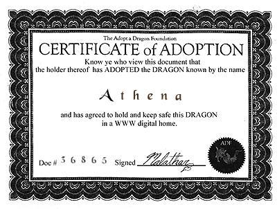 Athena--Certificate Of Adoption
