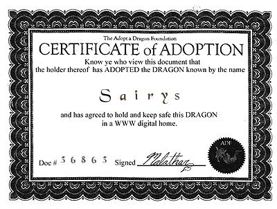 Sairys--Certificate Of Adoption